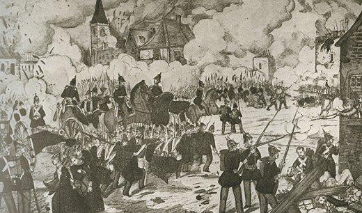 Rys., bitwa w Książu w 1848 roku, Iz:) Witold Jakóbczyk red., Dzieje Wielkopolski, t. 2, Poznań 1973 (ze zbiorów F. Wagnera, fot. F. Maćkowiak)