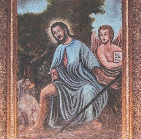 Wiszący w kościele w Wieszczczynie obraz św. Rocha. Jest on patronem parafii i kościoła od około 1680 roku.